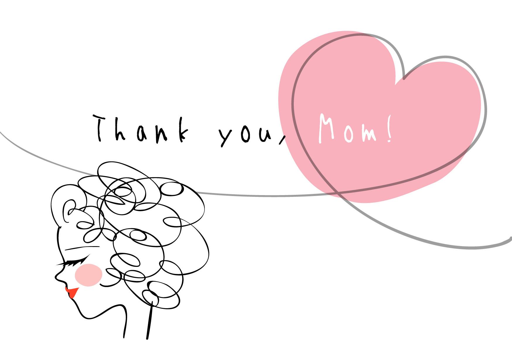 母の日のポストカードテンプレート-ママとハート「thank you,mom